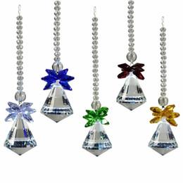 Wholesale Decoration Hanging Beads - 5PCS 30mm Hanging Chakra Suncatcher Ball Crystal Beads Prisms Chandelier Lamp Lighting Pendant Wedding Decoration Gift W021