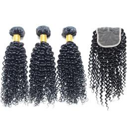 Wholesale Cheap Wholesale Chemicals - Brazilian hair bundles with closure curly brazilian hair bundles 4pcs lot 100% Natural Human Hair No chemical dye CHEAP brazilian human hair