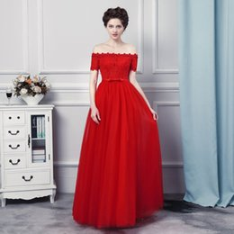 Wholesale One Shoulder Red Dress Short - Floor Length Evening Dresses Vestido Longo Vermelho 2017 Boat Neck Cheap Red Tulle Prom Long Dresses