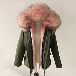 Wholesale Green Polyester Winter Coat - 2017 New Women Winter Army Green Jacket Coats Thick Parkas Plus Size Real Raccoon Fur Collar Hooded Outwear