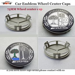 Wholesale Chrome Amg Emblem - 75MM car emblem wheel center cap for apple color tree logo W211 AMG W203 W204 W124 W201 AMG W202 W212 W220 W205 GLA CLA embelm center covers