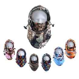 Wholesale motorcycle winter thermal face mask - 2017 Winter Camouflage Thermal Fleece Balaclava Windproof Versatile Hats Sports Full Face Motorcycle Mask for Ski Riding Skiing Snowboard