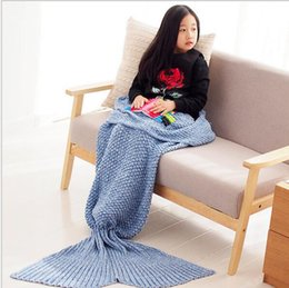 Wholesale New Baby Crochet Blankets - New Arrival Wholesale Adult Baby Kids Knit Crocodile Mermaid Tail Lap Blanket 100% Pure Cotton Single Air Conditioning Sofa Throw Blanket