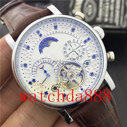 Wholesale Classic Tourbillon - Hot sell Moon Phase Top Brand Luxury Watch Tourbillon Mechanical Watch Men Automatic Classic Leather Mechanical Wrist Watches Relojre Homb