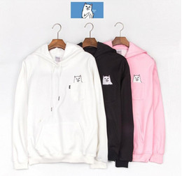 Wholesale Blending Stamp - autumn winter Tide brand Ripndip classic stamp Hoodie skate board pocket to the cat cat base yeezus men and women plus cashmere hoodies