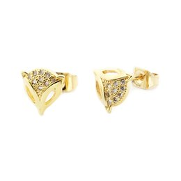 Wholesale Cute Earrings For Sale - Wholesale 10Pcs lot 2017 Hot Sale Fashion 18K Gold Earrings Jewelry Lot Earrings Cute Tiny Fox Cubic Zirconia Earrings For Women