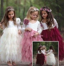 Wholesale Tulle Mid Wedding Dress - Kids Girls Lace Dresses Baby Girl Floral Embroidery Long Dress Boutique Infant Princess Full Sleeve Tulle Tutu Dress for Wedding Party B554