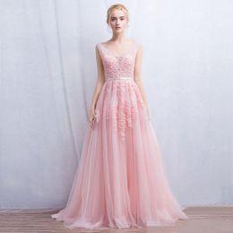 Wholesale V Neck Jewel Blue - Vestido de festa New Coming Robe De Soiree V Neck with Lace Appliques Long Tulle Party Evening Dresses 2016 Pink Navy Blue Gray