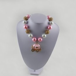 Wholesale Pumpkin Resin - pink Pumpkin Carriage chunky bubblegum ball necklace TODDLER or GIRLS Pink Carriage Rhinestone Chunky Necklace, Princess chunky necklace,