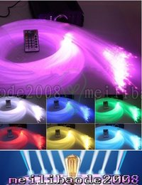 Wholesale Optic Star Ceiling - LED fiber optic star ceiling kit light 340 Strands 4m 0.75mm+1.0mm+1.5mm+crystal 16W RGB Engine+24key Remote RGB Lamp MYY166