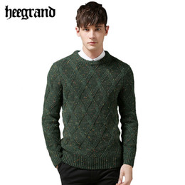 Wholesale Polka Dot Jersey - Wholesale-2016 England Style Sweater For Men Square Pattern Pullovers Brand Wool Sweater Man Special Spot Autumn Hombre Jersey MZL513