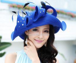 Wholesale Europe Woman Fashion - Blue Europe style designer women kentucky derby hats for fashion dresses girls ladies pillbox Luxury wide brim fedora feather sun hats bulk