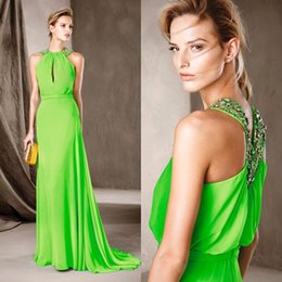 Wholesale Embellished Chiffon Dress Pink - 2017 Elegant Green Evening Dress Long Formal Evening Wear Beads Crystals Embellished Halter Prom Party Pageant Gowns Keyhole Sweep Train