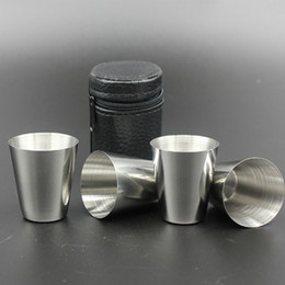 Wholesale Tea Sets Camping - 4pcs Set Stainless Steel Cover Mug Sets Camping Cup Mug Drinking Coffee Tea Beer With Case Travel Holiday Picnic Cup 70ML XL-G197