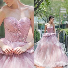 Wholesale Masquerade Dresses For Prom - 2017 Pink Crystals Quinceanera Dresses Ball Gown Sweetheart Ruffles Long Party Evening Gowns Sweet 15 Prom Dresses For Masquerade Balls