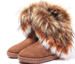 Wholesale Printed Fur - Fashion Fox Fur Warm Autumn Winter Wedges Snow Women Boots Shoes GenuineI Mitation Lady Short Boots Casual Long Snow Shoes size 36-40