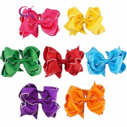 Wholesale Shabby Kid - Boutique New Designer Baby Kid 5 Inch Hair Bow On Alligator Clip Edging Shabby Double Stacked Bows