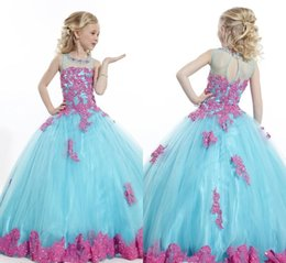 Wholesale Sky Blue Pageant Dress Child - New Girls Pageant Dresses Light Sky Blue Tulle Lace Sheer Neck Ball Gown Beaded Lovely Flower Girls Dresses For Weddings Cheap Kids Children
