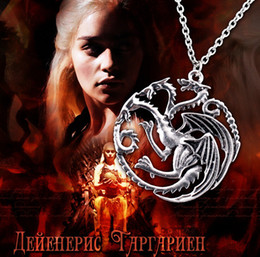 Wholesale Dragons Blood - Dragon Necklace High Quality Jewelry Daenerys Targaryen Fire And Blood Song Of Ice And Fire Game Of Thrones Targaryen Dragon Badge Necklace