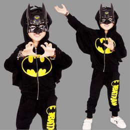 Wholesale Boys Batman Tops - 2017 New Children Outfits Tracksuit Batman Clothing Children Hoodies Tops+Kids Pants 2pcs Boys Sport Suit Baby Boys Clothing Set free shippi