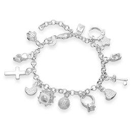 Wholesale Cheap Sterling Silver Charm Bracelets - 13 Charms 925 Sterling Silver Bracelet Cross Ball Lock Key Moon Ring Heart Star Flower Cube Zircon Charms Bracelet Beautiful Jewelry Cheap