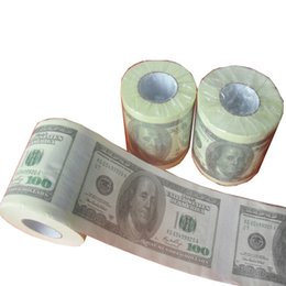Wholesale Currency Paper - New $100 US Dollars Currency Toilet Tissue Novelty Decor Good Paper Material Roll of Paper Creative Sanitary Papers 200pcs lot Drop Shipping