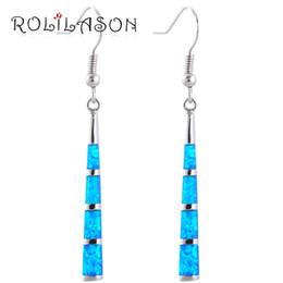 Wholesale Blue Opal Silver Earrings - Hot selling Long earrings design Charming style Blue fire opal Silver Stamped Fashion Jewelry Dangle Earrings Fine jewelry OE477