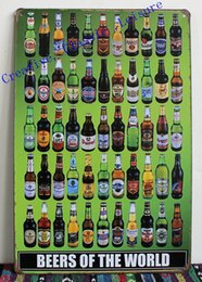 Wholesale Tin Signs Free Shipping - Wholesale- Free shipping beers of the world tin sign metal wall art , beer sign for home bar pub wall decor , beer poster 30x20cm