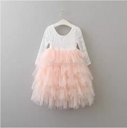 Wholesale Baby Cake Dresses - baby princess dress girls lace TuTu dress cotton long sleeves cake dresses Kids Clothing B11