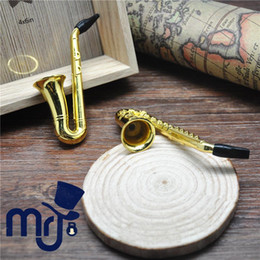 Wholesale Pipe Pouches - Wholesale-12pc Saxophone Metal Smoking Pipe +60pcs Metal Screen; Tobacco Pipe cleaner mouth tips acrylic wood pipe holder pouch