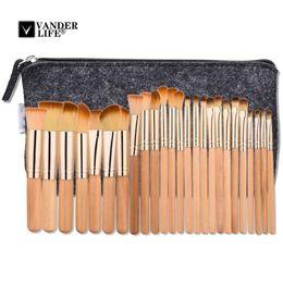 Wholesale 25 Hair - Vanderlife Brown 25 Pcs Professional Makeup Brushes Set Foundation Make Up Brush Tools Kit With Cosmetics Women Bag Pincel Maquiagem
