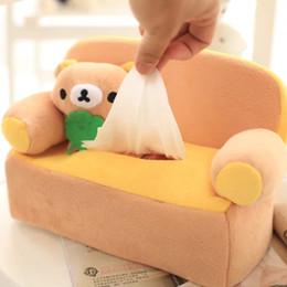 Wholesale Fabric Sofas Sets - Wholesale- 1PC New Lovely bear Cartoon plush sofa napkin Box Tissue Box in fabric tissue Set Cover Animal paper towel box 24*18*12cm