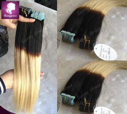 "Wholesale Seamless Weft Extensions - Cheap Russian Tape In Human Hair Ombre Hair Extension Seamless Straight Cuticle Skin Weft Hair Extensions 16""-28"" 40pcs 100g---Sunnygrace"