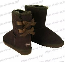 Wholesale Womens Blue Snow Boots - Christmas gift Womens boots BAILEY BOW Boots winter Snow Boots for Women chestnut Chocolate gray black blue rose 9colors big size xmas
