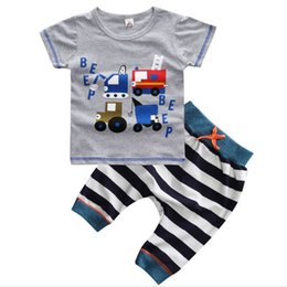 Wholesale Male Boys Clothes - Retail!Summer 2016 fashion baby Boy's clothing sets children's clothing male 100%cotton kids suits grey truck t-shirt trousers 16013