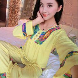 ladies long cotton nightgowns 2019 - Wholesale- Hot Sale Long Sleeved  Ladies Pajamas Set 2pcs 22fb8c3cb