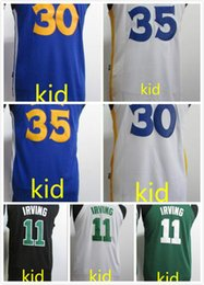 Wholesale Dry Goods - 2017 2018 new style kid 30 stephen curry 35 kevin durant 11 kyrie irving kids jersey white blue green black 100% good quality