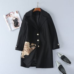 Wholesale Slim Single Breasted Wool Coat - European and American women's wear 2017 The new winter Diamond sequins embroidered lion Wool coat