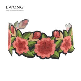 Wholesale Flower Rose Tattoos - Wholesale- LWONG 2017 New Handmade Embroidered Floral Statement Choker Necklace Sexy Boho Rose Flower Tattoo Chokers Chocker Maxi Necklaces