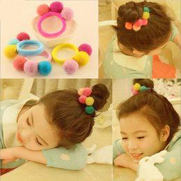 Wholesale Handmade Hair Holder - Korea Girls Handmade Wool Felt Ball Hair Rope Ring Band Pompom Cotton Hair Circle Fluff Hair Aaccessories