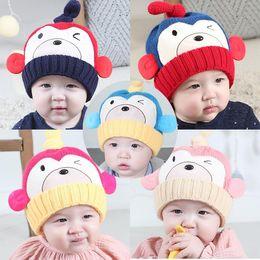Wholesale Boy Monkey Beanie - 2017 New Autumn Winter Infant Baby Kids Cartoon Monkey Knitted Hats Smile Boys Girls Caps Warm Beanies Children Knitting Hats M125