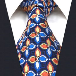 Wholesale Extra Long Mens Tie - P14 Extra Long Size Floral Checked Multicolor Navy Mens Neckties Ties 100% Silk Jacquard Woven Handmade