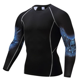 Wholesale Mma Shirts - Compressed Long Sleeve 3D Print T-Shirt Upgraded Shirt Shirt High Elastic Tight MMA Men's Punk Sportswear Tops Black Print Large Size DHL