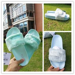 Wholesale women long sandals shoes - 2017 Leadcat Fenty Rihanna Shoes Women Slippers Indoor Sandals Girls Fashion Scuffs Mint Green Maca Long Sky Blue Fur Slides High Quality