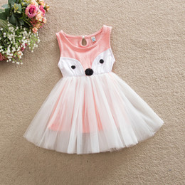 Wholesale Western Cotton Dresses - Cute Baby Girls Fox Dress Tutu Cotton Dress Ruffles Western Party Dress Pink and Green Color Princess Dress
