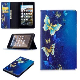 Wholesale Leather Case For Kindle Fire - Golden Butterfly PU Leather Flip Case for Fire HD8 2017 fire 7 2017 Case With Card Holder