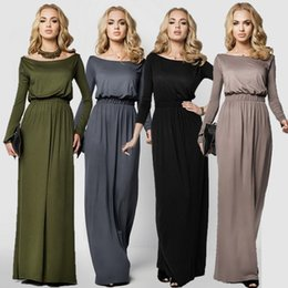 Wholesale Long Sleeved Maxi Dresses - Explosion 2017 autumn new European and American color collar long sleeved dress
