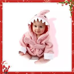 Wholesale Bathrobe Towel - Kids Flannel Bathrobe Shark Cotton Towels Hooded Nightgown