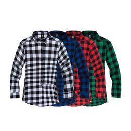 Wholesale Red Plaid Collar - Wholesale-plaid shirt men Hip hop men shirts tyga Long sleeve dress shirts virgil extended cotton shirt red black tops camisa masculina
