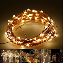 Wholesale Red Orange Curtains - 2M 3M 4M Party Xmas led Battery Power Operated 20 30 40 LEDs copper wire(with silver color) String Light Lamp